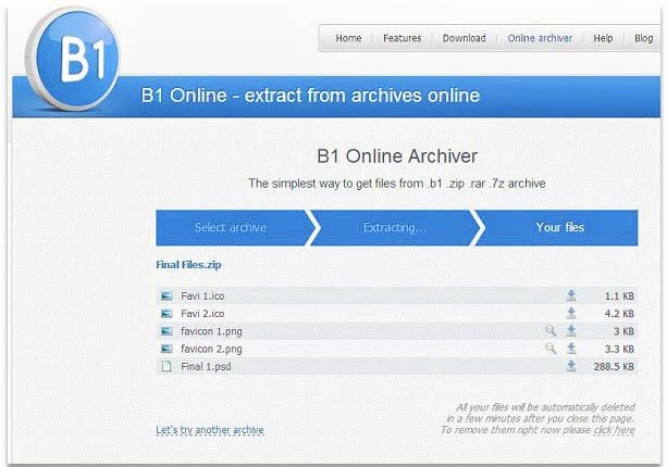 Descomprimir archivos en linea